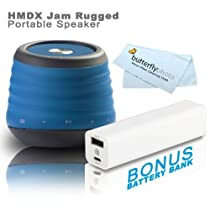 HMDX JAM XT Extreme Rugged Bluetooth Wireless Speaker, HX-P430BK (Black) + FREE Bonus Photive 2600mAh Portable Battery Charger Power - Allows You To Charge Your Speakers or Phone On The Go (Blue)