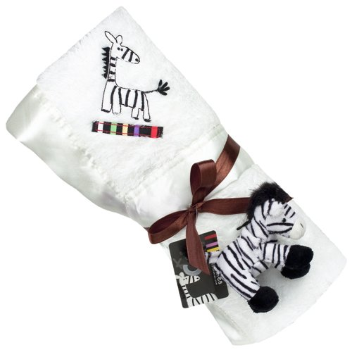 Kushies Zebra Blanket with Plush Toy, White