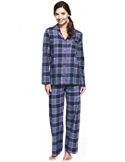 Pure Cotton Revere Collar Dobby Heart & Checked Pyjamas