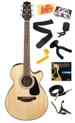 Takamine Gf30Ce Solid Spruce Top Fxc Cutaway Acoustic-Electric Guitar With Rosewood Fretboard Bundle With Strings, Capo, Strap, Instrument Cable, Wall Hanger, Tuner, Stringwinder, Picks, And Polishing Cloth - Natural