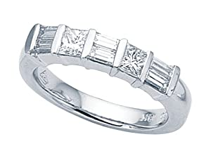 Karina B (tm) Baguette Diamonds Band in Platinum 950 Size 6