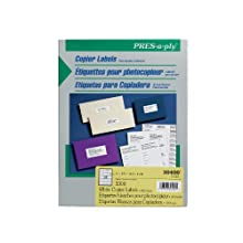 Avery Pres-a-ply Copier Label, 1 x 2.75 Inches, White, Box of 3300 (30400)