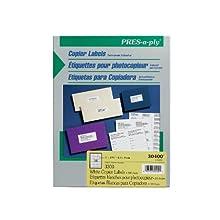 Pres-a-ply Copier Label, 1 x 2.75 Inches, White, Box of 3300 (30400)