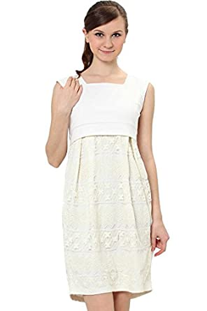 SO1053 Sleeveless Lace Maternity and Nursing Dress (UK 12-14, Offwhite)