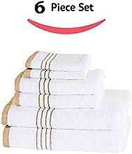 100 Cotton Metro Stripe 6 Piece Towel Set - Taupe