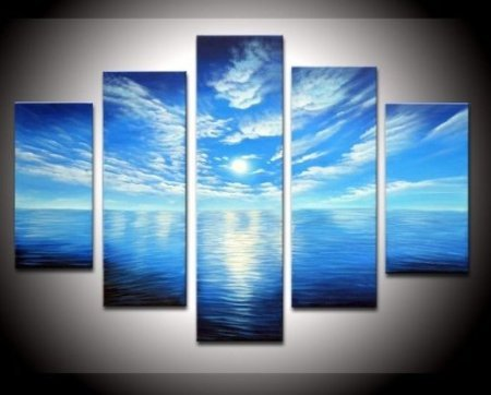 100 hand painted wood framed on the back artwork blue ocean white clouds ready - Blue Wall Decor