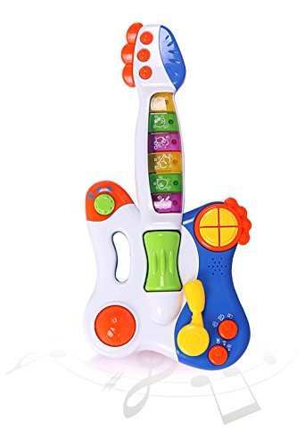 Big Dragonfly High Quality Kids Learning Electronic Guitar Best Educational Toys For Baby With Various Music Styles Installed Exquisite Gift Box Package Pink (Safe & Green ) front-1046787
