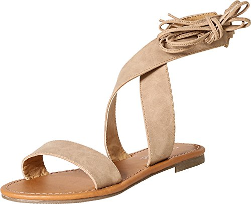 City Classified by Soda Women's Zinty Lace Up Gladiator Flat Sandal (7 B(M) US, Camel PU) (Gladiator Sandals Soda compare prices)
