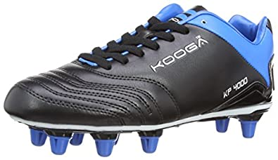 Kooga Unisex Adult 31413 KP 4000 LCST 8 Stud Rugby Boots - Black/Blue/White, 9 UK, 43 EU Regular