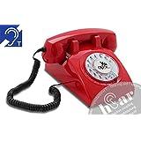 OPIS 60s CABLE hEar: Klassisches Festnetztelefon mit Hörgeräteunterstützung und extra lauter Klingel (rot)