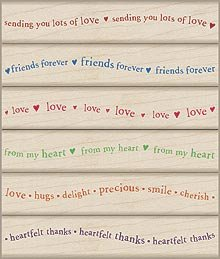 Wavy Heartfelt Messages Wood Mounted Rubber Stamp Set (LL079)