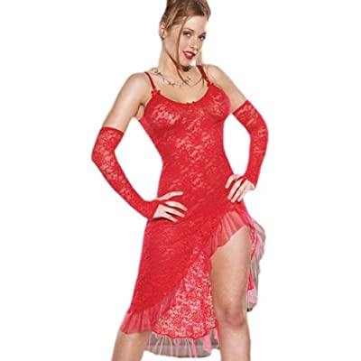 SeXy Red Nightgown Stretch Lace Cascading Ruffles Gown Matching g-String