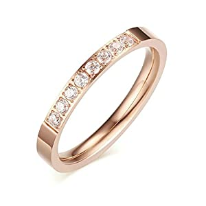 KnSam Women Stainless Steel Eternity Ring 3MM Channel Set Half Around Ring Rose Gold Size 7