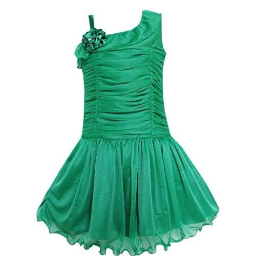EM94 こどもドレス キッズドレス チュチュドレス グリーン ダンス プリーツの タリー 肩 パーティー 130cm