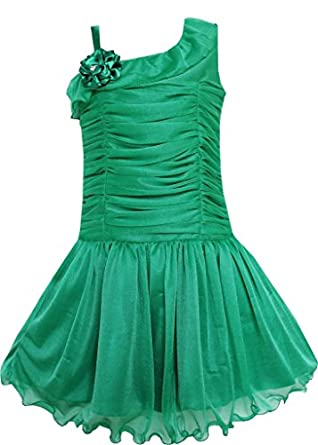 EM91 Girls Dress Green Dancing Tutu Pleated Tully Shoulder Party Kids Size 5 Years