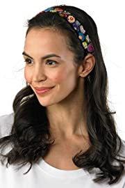 TeyArt Hand Embroidered Circles Headband (Black)