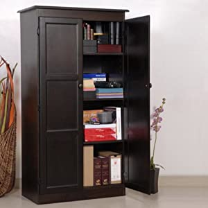 Espresso Finish Storage Cabinet Espresso Finish Wooden Pantry Office Products