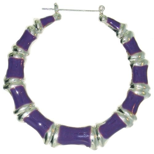 Enamelled Bamboo Hoop Earrings In Purple with Silver Finish