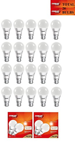 Eveready 8W LED Bulbs (Cool Day Light, Pack of 20)