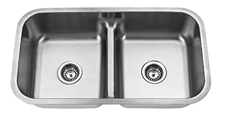 Yosemite Home Decor MAG3218 18-Gauge Stainless Steel Undermount Double Bowl Low Divider Kitchen Sink