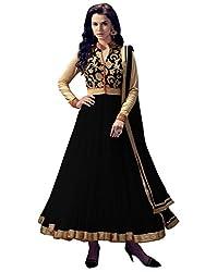 Leela Creators Women's Net Semi Stitched Anarkali Suit (GE_108_Black)