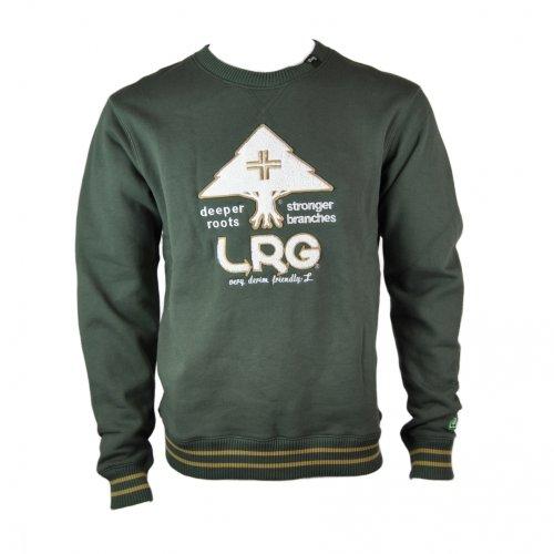 LRG Mens Team Player Crew Neck Sweater Jumper Sweatshirt in Olive Green - xlarge