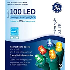 Santas Best Craft Import Ge 90035 Ge Micro Mini 100 Led Light Set Multi Colored Buy