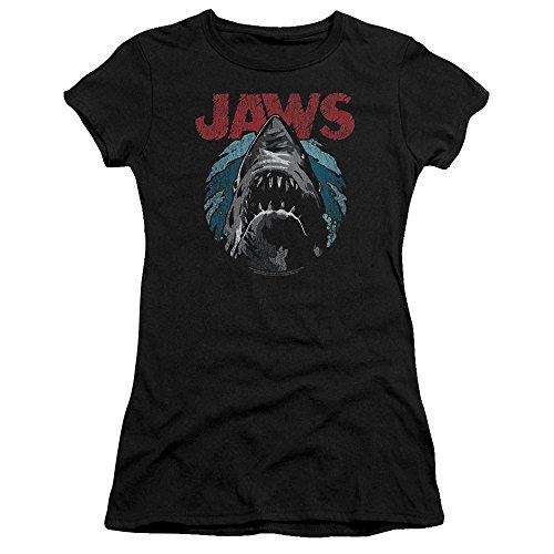 Jaws Spielberg Thriller Movie Cartoon Sketched Shark Attack Juniors Sheer Tee