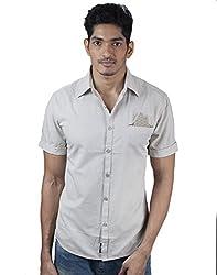 Mavango Beige Slim Fit Reversible Pocket & Sleeves Men's Casual Cotton Shirt