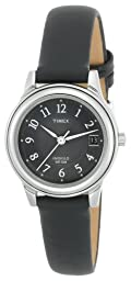 Timex Women's T29291 Elevated Classics Dress Black Leather Strap Watch