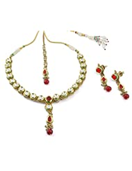 Muchmore Jewellery Gold Plated Polki Kundan Look Necklace Set For Women