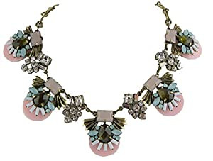 J New Crew Pink Rhinestone Crystal Statement Necklace
