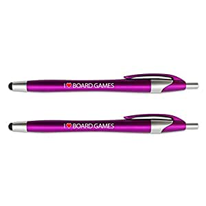 I Love Board Games Stylus with Retractable Black Ink Ball Point Pen 2-in-1 Combo Works On Any Touch Screen Device Including iPad, iPhone, Tablets and More - 2 Pack - Pink
