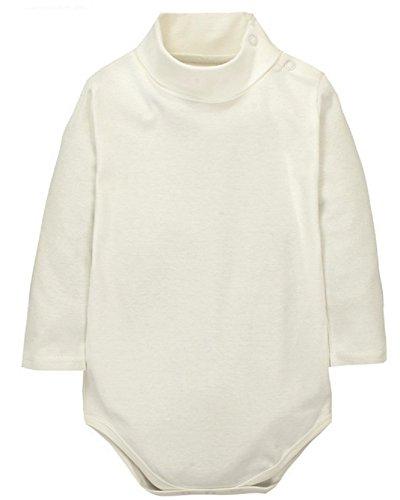 Sunnysame Baby Boys Girls Fall Cotton Long-sleeve Turtleneck Bodysuit Romper One-piece-WHITE12M