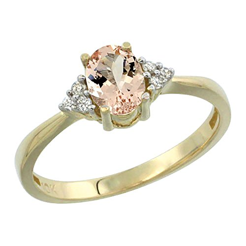 14K Yellow Gold Natural Morganite Ring Oval 7x5mm Diamond Accent, size 8.5