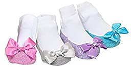 Mary Jane Socks With A Bling! Sparkle Infant Socks 4 Pair For Spring 12-18 Months
