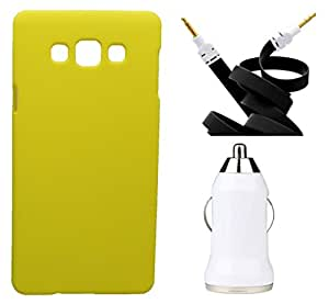 XUWAP Hard Case Cover With Aux Cable & Car Charger For Samsung Galaxy Z3 - Yellow
