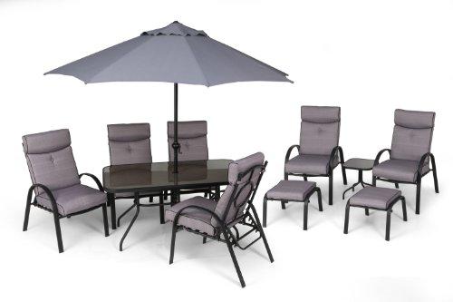 Li Lo Westport Dining Suite 11 Piece Garden Furniture Set 6 Chairs Table