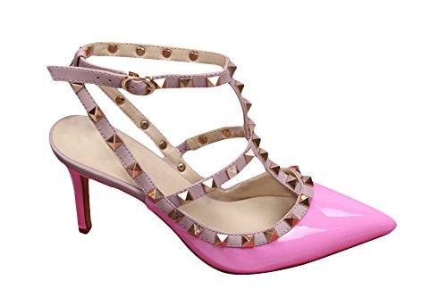 wanmi pupms da donna Gold-Tone ROCKSTUD punta cinturino alla caviglia tacco a spillo sandali scarpe Dating, donna, Pink, 37