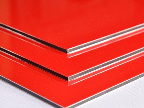 Aluminium Verbundplatte - 3mm - ROT- 0,2mm - 200mm x 200mm