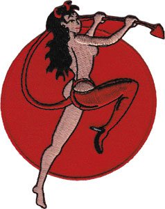 Novelty Iron on - Angels & Devils Red Dancing SEXY Woman Devil Logo Patch