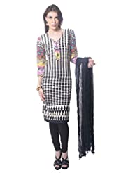 Saving Tree Black Cotton A Line Suit With Matching Contrast Legging And Dupatta