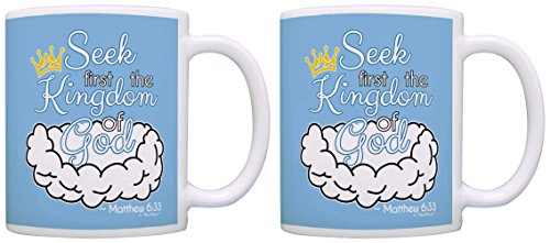 Christian Gifts Seek First the Kingdom of God Motivational 2 Pack Gift Coffee Mugs Tea Cups Blue (License Plate Frame Motivational compare prices)