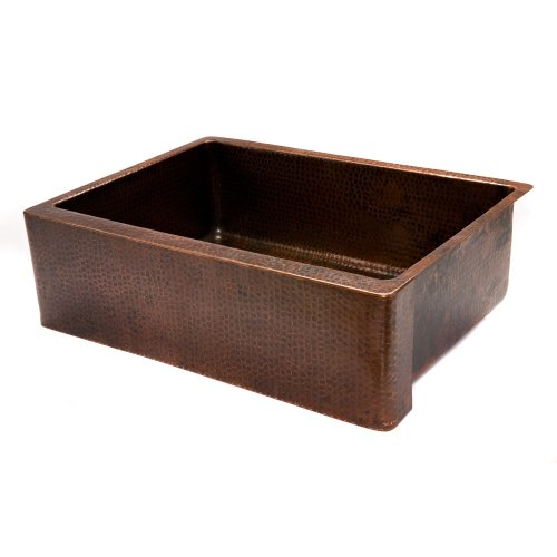 Premier Copper Products KASDB30229 30-Inch Copper Hammered Kitchen Apron Single Basin Sink, Oil Rubbed Bronze