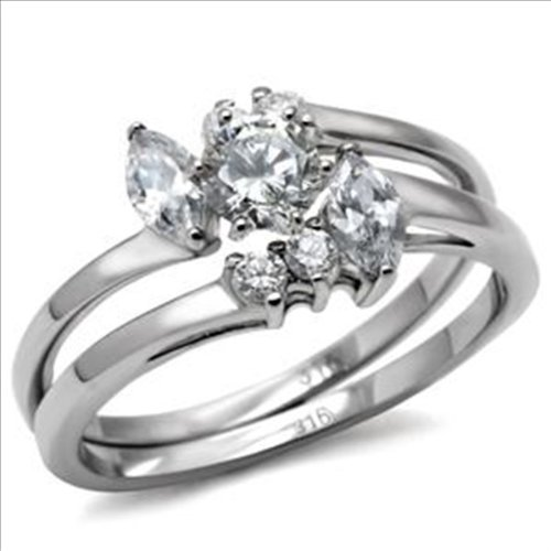 .9ct Brilliant Bridal Wedding Ring Set 316 Stainless Steel Cubic Zirconia (8)