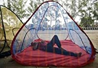 Handicraft Mosquito Net Tent Style Foldable Washable 7/7 With Basecloth Nylon, Multi Colour, (213.36 X 213.36 CM)