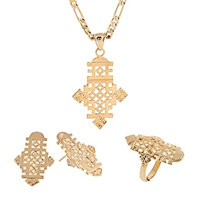 Ethiopian Cross Pendant Earring Ring Necklace Set 24k African Gold Corss Symbol Jewelry Set