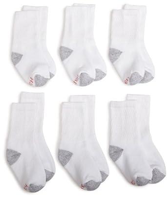 Hanes Big Boys'Classic 6-Pack Crew Sock,White,Small