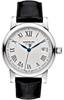 Montblanc Star Date Automatic Silver Dial Black Leather Mens Watch 107114 by Montblanc