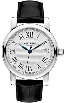 Montblanc Star Date Automatic Silver Dial Black Leather Mens Watch 107114